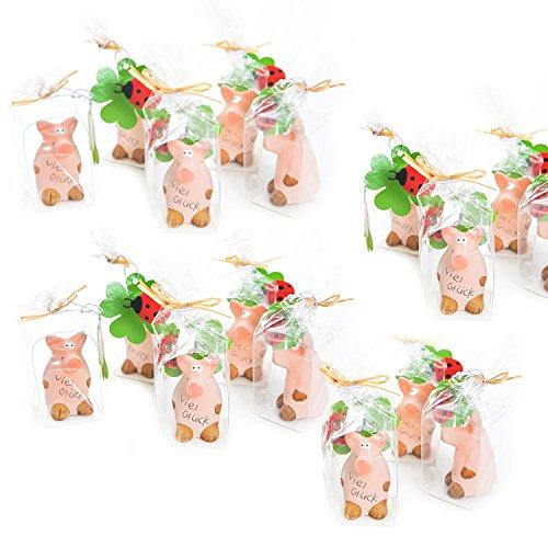 Logbuch-Verlag 10 Glücksschweinchen VIEL GLÜCK rosa Glücksschwein Glücksbringer Talisman Mini Geschenk give-way Kindergeburtstag Neujahr Silvester Mitgebsel