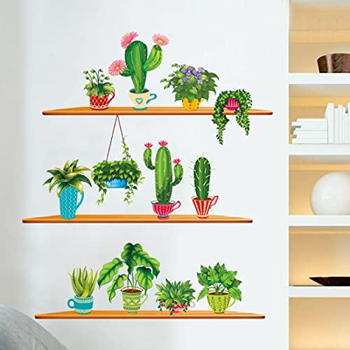 Kunst Wandaufkleber Kaktus Pflanze geplottet Bonsai Wandtattoos Wohnzimmer Wohnkultur Garten Grüne Aufkleber Dekor