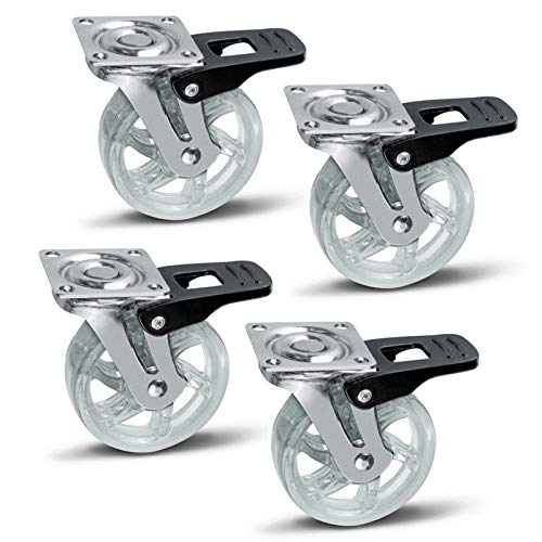 SOTECH 4er Set Möbelrolle Shift 75 mm transparent mit Bremse, Tragkraft 35 Kg, Möbelbockrolle
