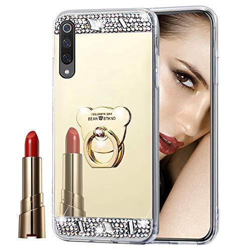 Glitzer Spiegel Hülle für Xiaomi Mi 9 Gold, Misstars Bling Diamant Strass Überzug TPU Silikon Handyhülle Ultradünn Kratzfest Schutzhülle mit Bär Ring Ständer für Xiaomi Mi 9