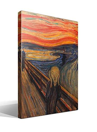 Canvas lienzo bastidor El Grito de Munch versión 3 de Edvard Munch - 45cm x 55cm - Imagen alta resolución - Impresión sobre Lienzo de Algodón 100% - Bastidor de madera 3x3cm - Fabricado en España