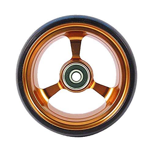 RIANT WHEEL, 4 X 1.4 inch, Solid, PU Wheels, Wheelchair Casters, Aluminum Rim, one Pair (Gold)