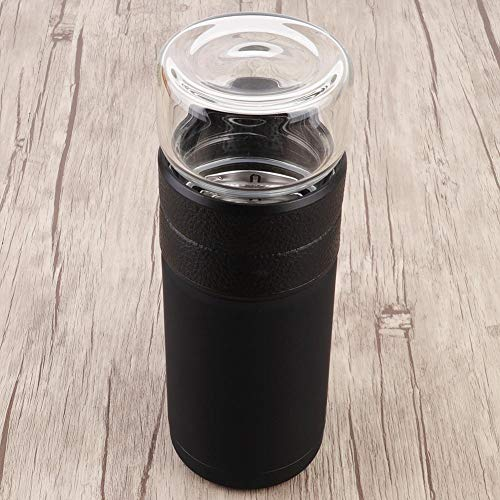Tea Leave (200 ml) + taza de té (400 ml) taza con infusión de té botella de agua de vidrio, vaso de té de negocios, botella de agua para hombre para viajes de negocios de oficina(black)