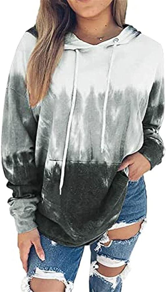 FORHVIPS Women's Hoodies Tie-Dye Printed Hooded Sweatshirt Long Sleeve Pullover Hoodies with Pockets