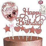 Tortendeko Rosegold, Happy Birthday Cake Topper Sterne Herze Cupcake Topper Konfetti Ballon Kuchen...