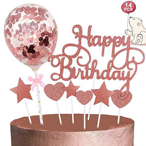 Tortendeko Rosegold, Happy Birthday Cake Topper Sterne Herze Cupcake Topper Konfetti Ballon Kuchen Topper, Glitzer Kuchendeko Tortenstecker für Mädchen Frauen Junge Kinder Geburtstag Torten Deko