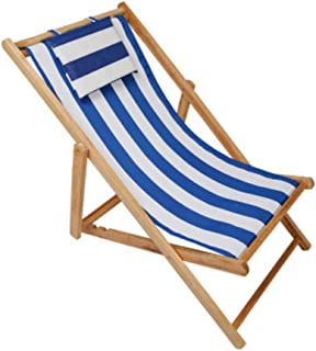 Lovehouse Adjustable Sling Chair, Wood Beach Chair with Headrest,Outdoor Portable Patio Folding Chair,Natural Frame, Stripe Waterproof Canvas