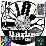 Salón de peluquería, reloj de pared con luz LED RGB, para mando a distancia, disco de vinilo, moderno, decorativo para regalo de cumpleaños