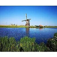DIY数字油絵 塗り絵キット パズル油絵 オランダ風車 デジタル油絵 手塗り 数字キットによる絵画 絵かき インテリア 壁飾り ホームデコレーション 40x50cm(額縁なし)
