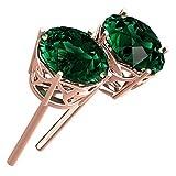 GWG Jewellery Pendientes Mujer Regalo Pendientes Chapados en Oro Rosa 18K de Cristal Esmeralda Verde y Adornados con Triquetas Celtas para Mujeres