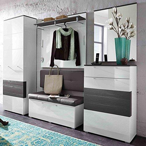 e-combuy Möbel Garderoben-Set in weiß Hochglanz, grau bestehend aus Garderobenschrank,...