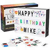 Cinema Light Box Marquee with 253 Character Tiles, Storage Box, Colored Markers and 8-Hour Power Timer – DIY Cinematic LED Lightbox for Home Decor or Business - USB or Battery Powered - A4 Size