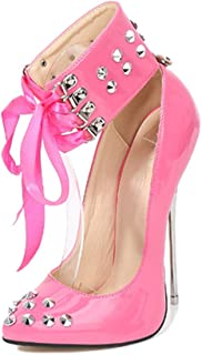 Women's Pointed High-Heeled Shoes, Rivet Large Size Heel Height of 16 Cm Closed-Toe Cross-Tie High-Heeled Shoes Sexy for Banquet Wear