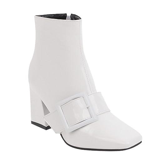 4ff69cb993910 Latasa Women's Monk Strap Square-Toe Block Heel Boots