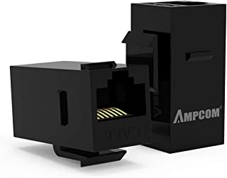 10-Pack CAT6 Feed-Through Keystone Jack,AMPCOM RJ45 Cat6 Straight-Through Keystone Module Adapter Couplers for Wall Plate UTP