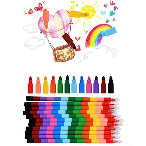 WOWOSS 12 Piezas de Crayones de Ceras de Colores Apilables, Crayones Pintar y Escritura para Regalo Niños 12 Colores Distintos