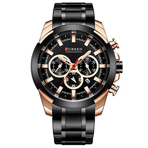 Reloj para Hombre Cronógrafo Reloj de Cuarzo analógico Vestido de Negocios Masculino -C