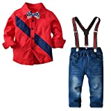 Boys Chrostmas Clothes Sets Long Sleeve Bow Ties Shirts + Suspenders Pants Denim Jeans Toddler Boy Gentleman Outfits Red 4T