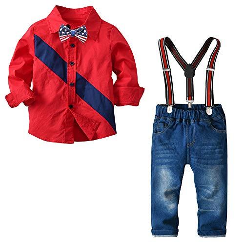 Nwada Ropa Niño 6 Años Trajes Fiesta Disfraz Navidad Conjunto Rojo Camisa y Pantalon y Corbata de Lazo y Tirantes