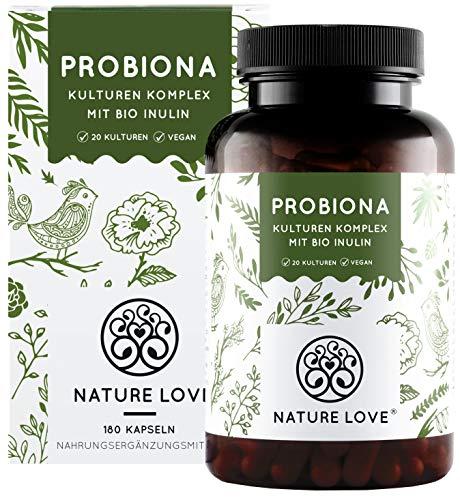 NATURE LOVE® Probiona Komplex - 20 Bakterienstämme + Bio Inulin - 180 magensaftresistente DRCaps®...