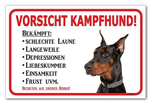 AdriLeo Schild - Vorsicht schwarzer Dobermann - Kampfhund - (20x30cm) / Achtung Hund Wachhund