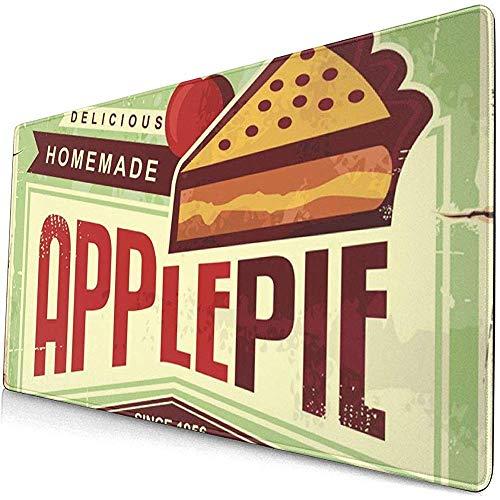 Köstliche hausgemachte Apfelkuchen Retro Werbeartikel ADV Extended Gaming Mouse Pad, Computer Mousepad Mouse Mat, rutschfeste, genähte Kanten