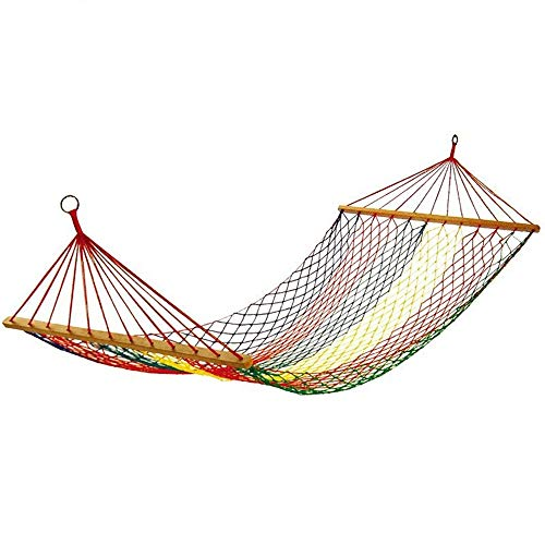 JTH Elegant Homes Large Rope Hammock, Quick Dry Rope Hammock with Double Size Solid Wood Spreader Bar Outdoor Patio Yard Poolside Hammock with Chains (Size : 200 × 80cm)