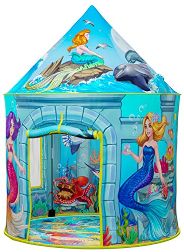 ImpiriLux Mermaid Under Sea Play Tent Pop Up Castle | Beautifully Illustrated Mermaid Playhouse Design for Girls & Boys | Kids Indoor and Outdoor Toy Fort