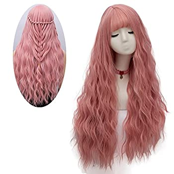 netgo Women s Pink Wig Long Fluffy Curly Wavy Hair Wigs for Girl Heat Friendly Synthetic Cosplay Party Wigs