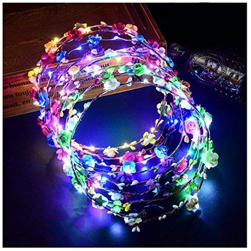 LED Flower Crown, Coxeer Led Flower Wreath Headband Luminous 7PCS Led Flower Headpiece Flower Headdress For Girls Women Wedding Festival Holiday Christmas New Year Party