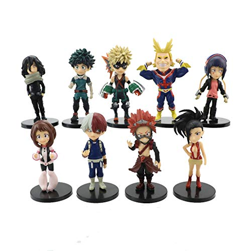 My Hero Academia Figure [9 Pack Set], Anime My Hero Academia Actions Figures Statue Figurine Toy 3D Model Figure Height about 4 inches