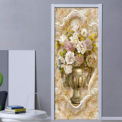 3D Deurfolie Deurfolie Marmer Patroon Vaas Diy Deur Sticker Woonkamer Slaapkamer Deur Decoratie Art Muurschildering Pvc Waterdichte Deur Wallpaper-As_Shown_95Cm_X_215Cm