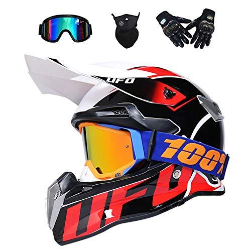 VOMI Casco de motocross para adultos, casco de motocross, scooter, ATV, casco de protección, certificado D.O.T, unisex, casco integral de motocross, con gafas, máscara, marrón, S