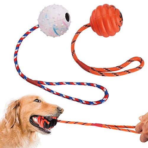 2 Pcs Dog Training Ball on Rope, Solid Rubber Rope Ball for Dog Training, Tug Ball Toy for Medium and Small Dog, Tough Rope Toy ,Non-Toxic and Durable Dog Toys