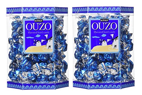 Krinos Ouzo Licorice Flavored Hard Candy, Individually Wrapped, Unique & Colorful, Perfect for Parties - 10.6oz Boxes (2 Pack)