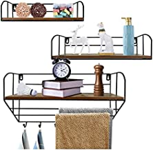 Giftgarden Shelves for Wall Set of 3, Rustic Wall Shelf Including 6 Coat Hooks Hanging Bar, Floating Decorative Storage for Bathroom Kitchen Bedroom Laundry Trophy