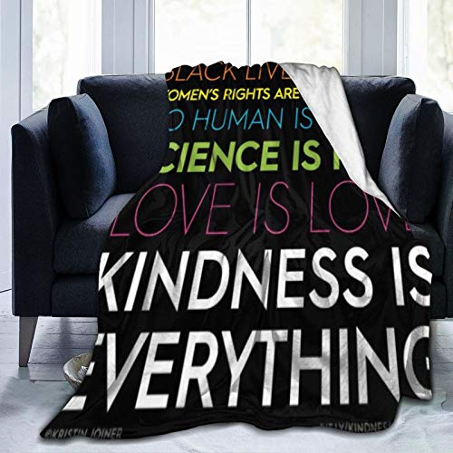 Bernice Winifred Kindnessiseverything Manta de Microfibra Ultra Suave Negra de Franela Anti-Pilling, más cómoda y cálida.60x50