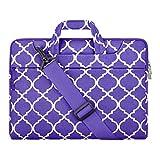 MOSISO Laptop Borsa a Tracolla Compatibile con 13-13,3 Pollici MacBook PRO, MacBook Air, Computer Portatile,Tela Geometrica Valigetta,Ultra Viola Quadrifoglio