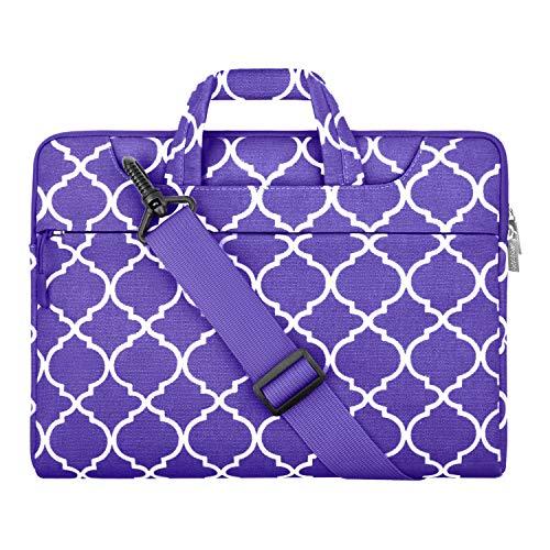 MOSISO Funda Protectora Compatible con 13-13,3 Pulgadas MacBook Air/MacBook Pro Retina/2019 Surface Laptop 3/Surface Book 2, Maletín Bandolera Bolsa de Geométrico Estilo, Ultra Violeta Cuatrifolio