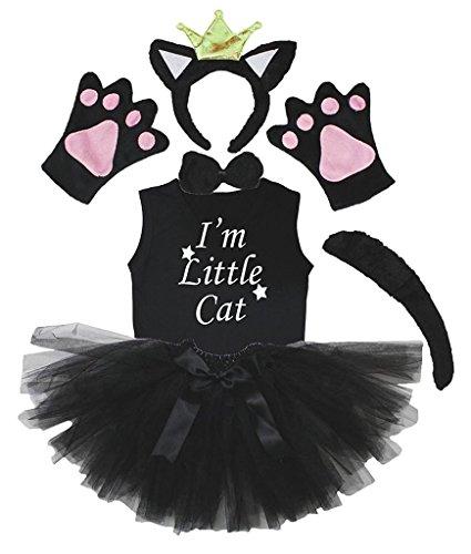 Petitebelle Kronen-Stirnband Bowtie Schwanz Handschuhe Hemd Rock 6pc Mädchen-Kostüm 3-4 Jahre Schwarze Katze