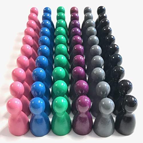 Juego de 60 figuras de madera para juegos de mesa, mezcla de colores, colores especiales, conos de media talla 12/24 mm, 60 unidades (6 x 10) (rosa, púrpura, azul claro, verde, gris, negro)