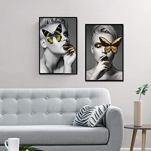 ganlanshu Kreatives Design Porträtplakat und Leinwanddruck Kunst Make-up Mode Mädchen mit Schmetterling,Rahmenlose Malerei,60X90cmx2