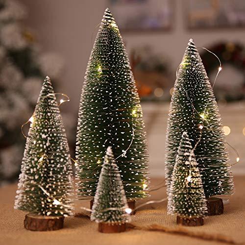5Pcs Alberi di Natale in Miniatura Alberi Pennello e 3M/3.28 Iarda Luci a filo metallico, Bottiglia Mini Alberi di Natale Neve in Gelo con ghirlande di Natale per Natale Party Natale Table Top Decor