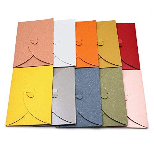 Lot de 20 enveloppes en papier kraft colorées avec fermoir en forme de cœur - Pour cartes postales, 100pcs