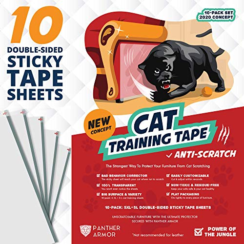 "Panther Armor 10(Ten)-Pack Cat Scratch Deterrent Tape – Double Sided Anti Cats Scratching Sticky Tape – 5-Pack XL 16""L 12""W + 5-Pack Large 17""L 10""W Furniture Protectors – Clear Training Tape"