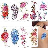 Temporäre Blumen Tattoos Aufkleber Lotus Kirschblüten Blitz Tattoo Pack von 9 Blätter
