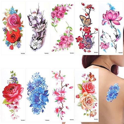 Temporaneo Sticker Adesivo fiori di loto fiori di ciliegio Blitz Tattoo Pack di 9Foglie