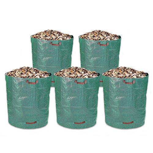 Schramm® 5 pièces Sacs de Jardin 500L Tissu polypropylène Vert Sac de Jardin PP