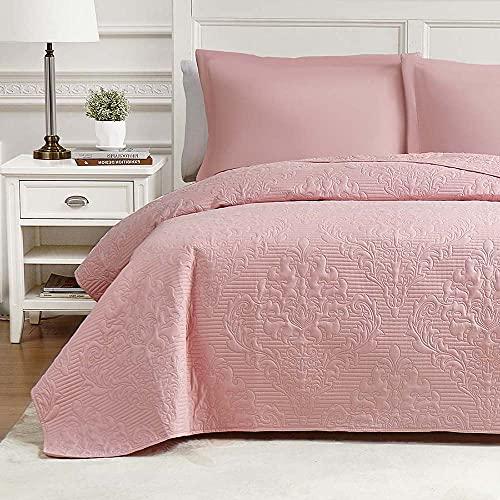 Hansleep Colcha 220x240 cm Manta Colcha Rosa Colcha de Microfibra para Dormitorio Manta Acolchada Súper Suave y cómoda Adecuada para la Cama