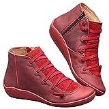 Botas Tobilleras de Piel para Mujer, Antideslizantes, Impermeables, para otoño e Invierno, Color Rojo, Talla 36 EU